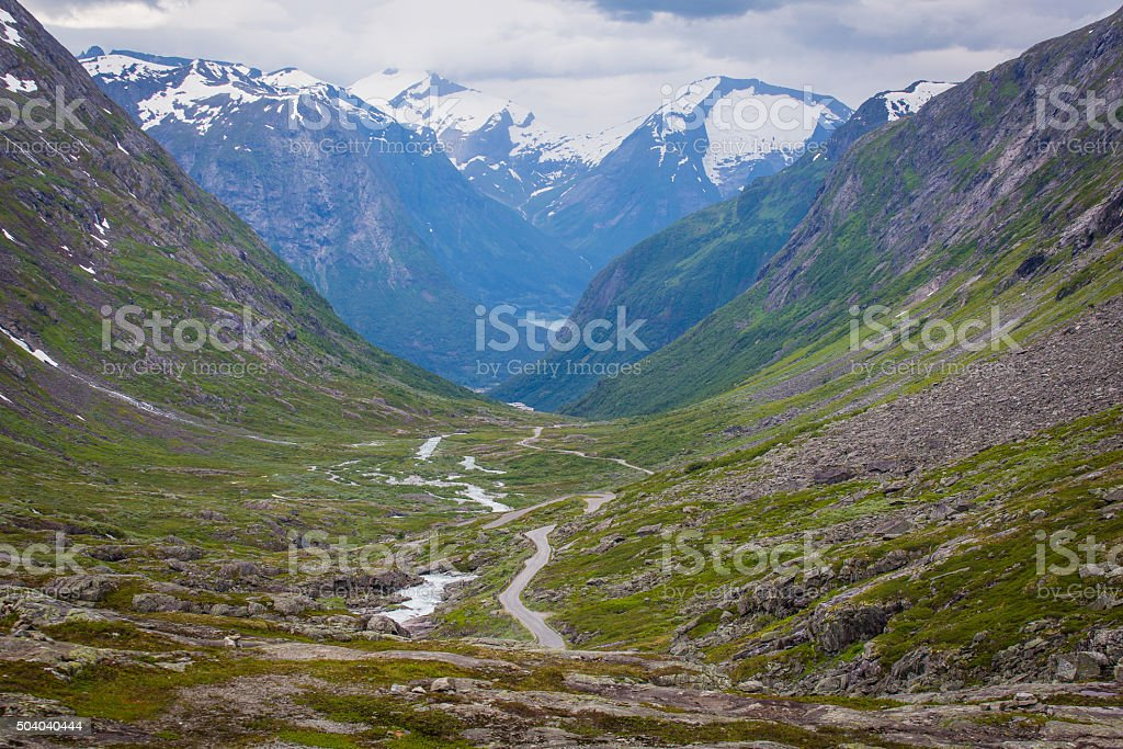 Summer landscape with the national tourist road, Norway. stock photo