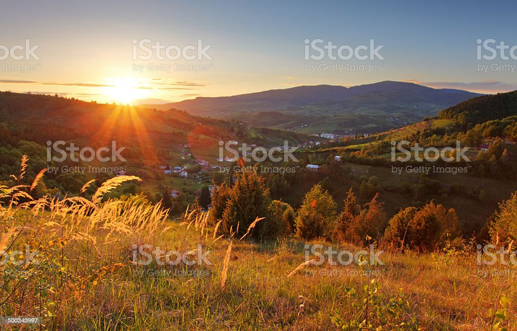 Summer landscape with village, Slovakia stock photo