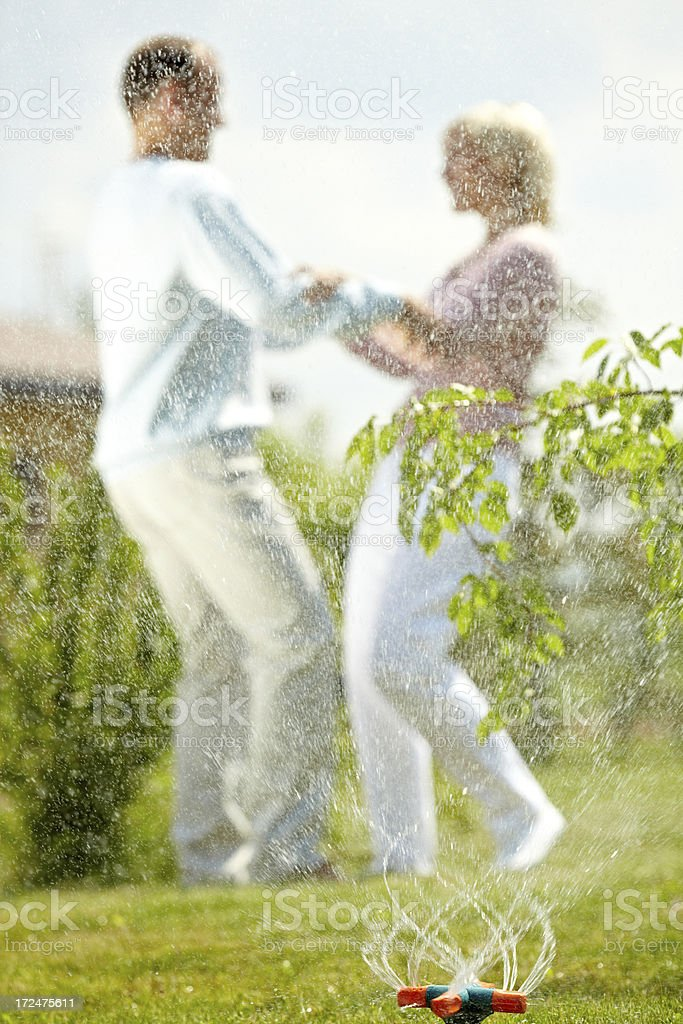 Summer lawn sprinkler action royalty-free stock photo