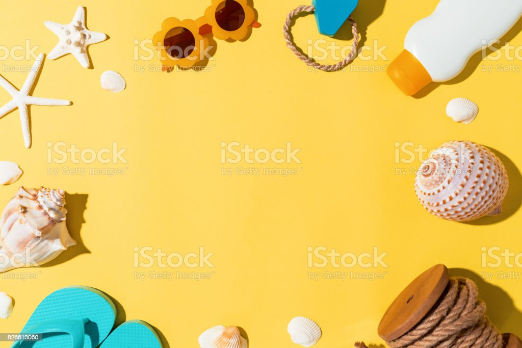 Summer lifestyle objects theme stock photo