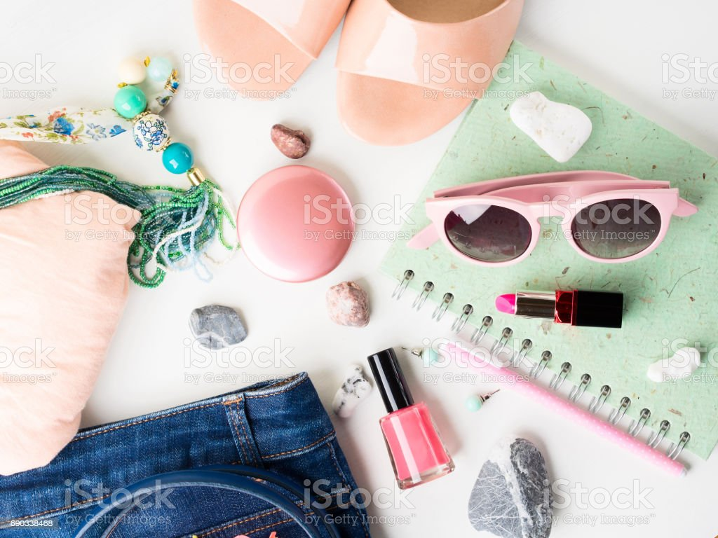 Summer lifestyle woman clothes flat lay stock photo