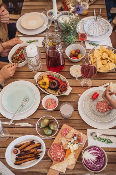 Summer lunch on porch stock photo