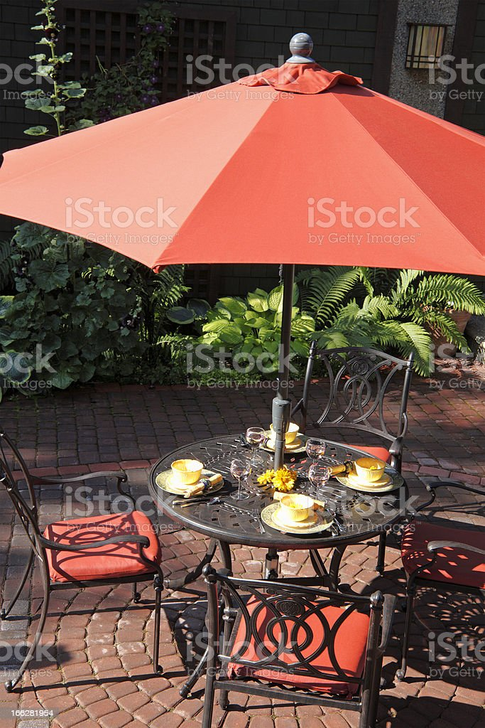 Summer Lunch On The Garden Patio stock photo