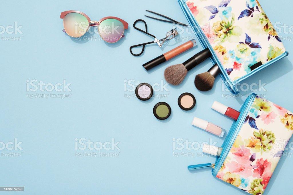 Summer makeup flat lay for beach holidays stock photo