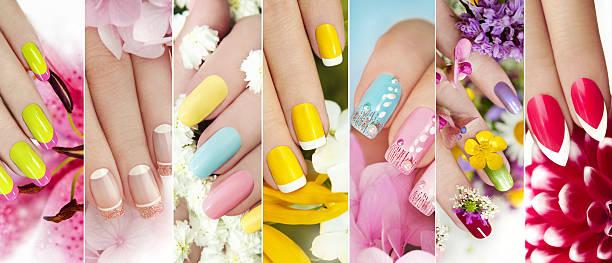 summer manicure. - nageldesign trend stock-fotos und bilder
