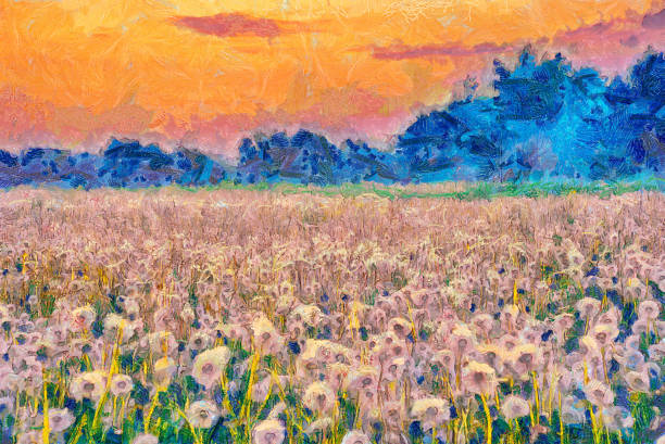summer meadow blow balls landscape painting - impressionist painting stock photos and pictures
