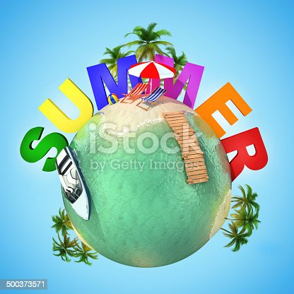 500536143istockphoto summer mini planet - tropical scene 500373571
