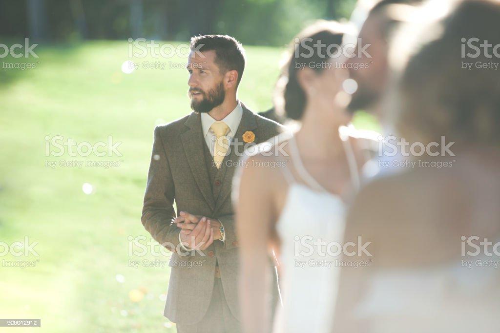 Moderne Hochzeit Sommerserie Brünette Braut Und Bräutigam Feiern