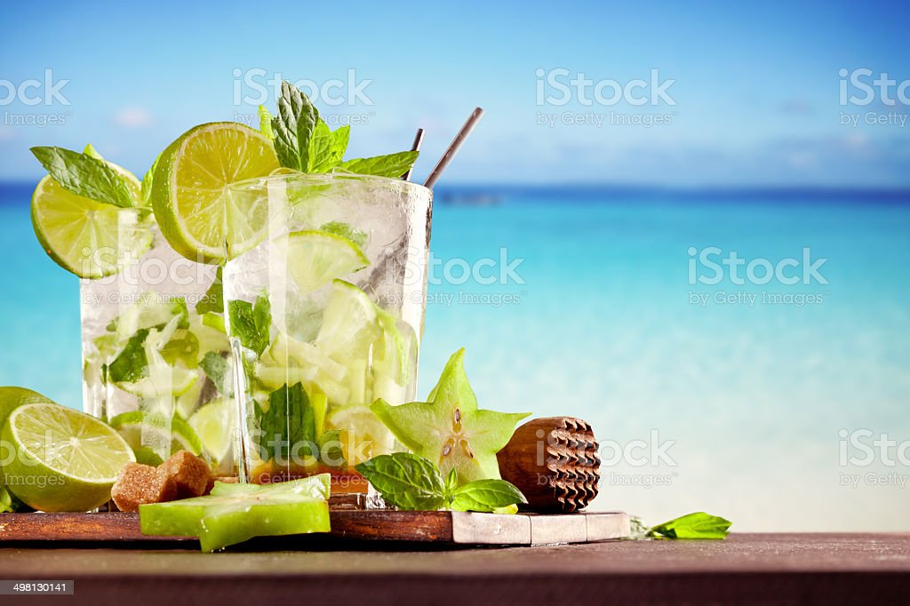 Summer mojito drinks on beach stock photo