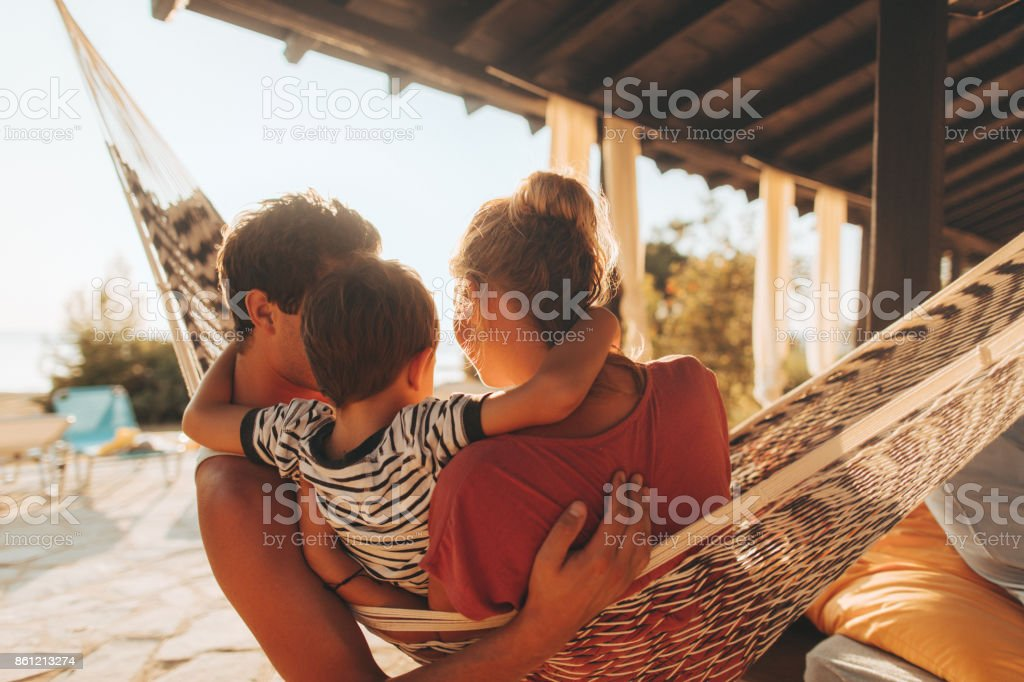 Summer moments with my family stock photo