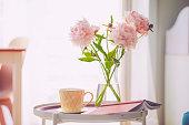 Pile of pink peony flowers