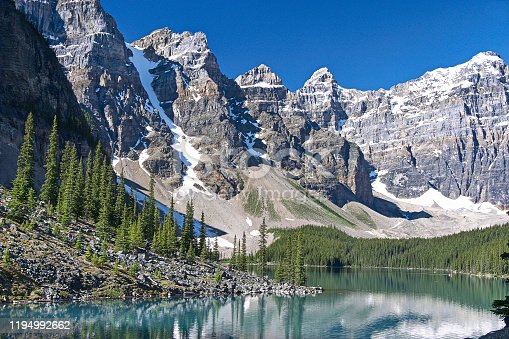 Moraine Lake Banff Canada and Ten Peaks Mountain Range