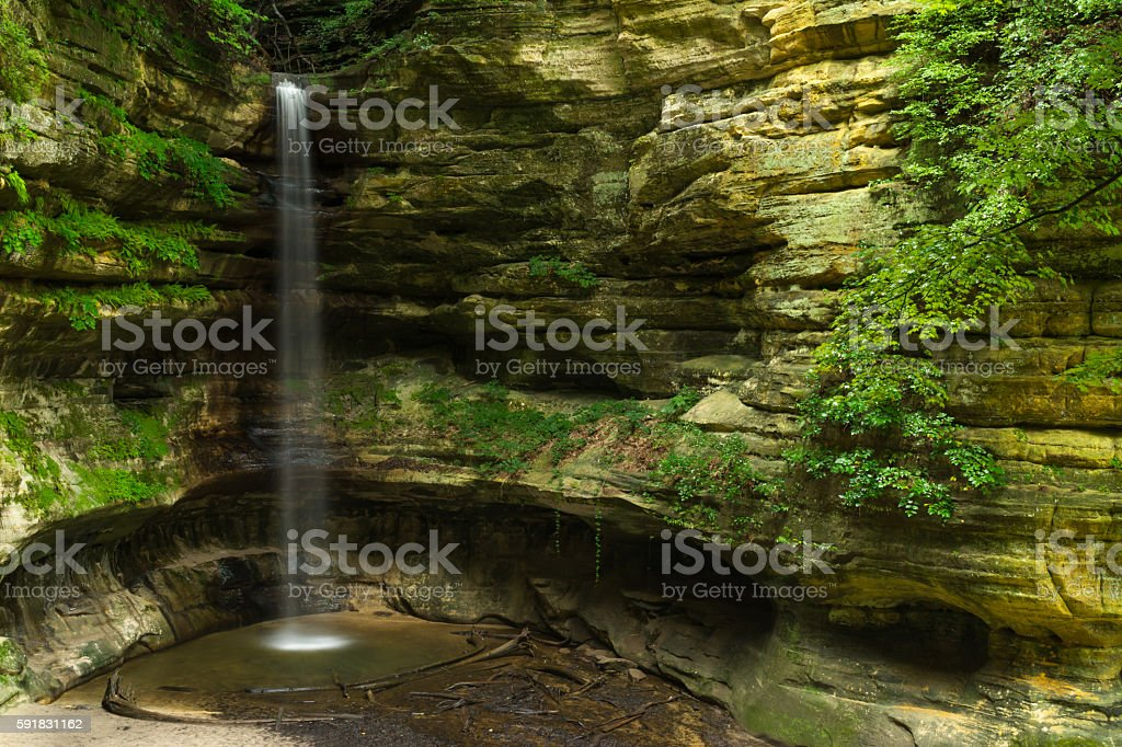 Summer morning cascade. stock photo