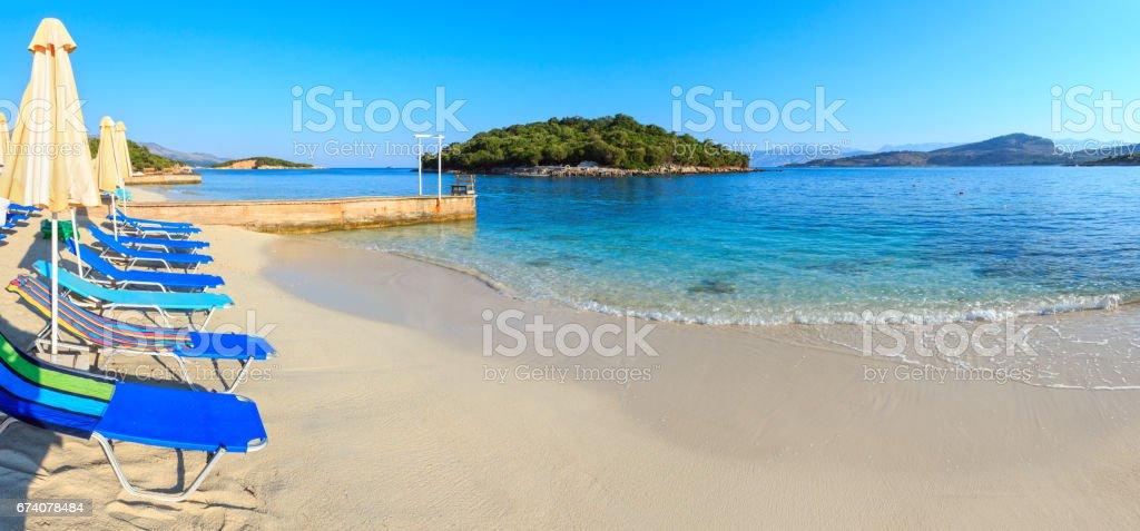 Summer morning Ksamil Beach, Albania. royalty-free stock photo