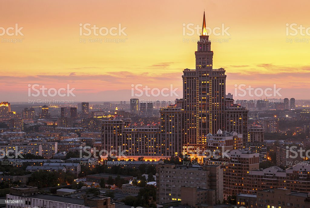 Summer Moscow skyline at sunset royalty-free stock photo