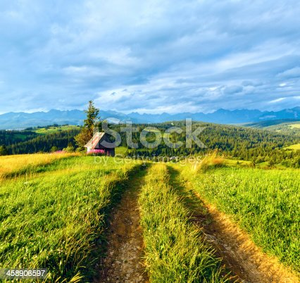 Summer evening mountain village outskirts with country road in front and Tatra range behind (Gliczarow Gorny, Poland)