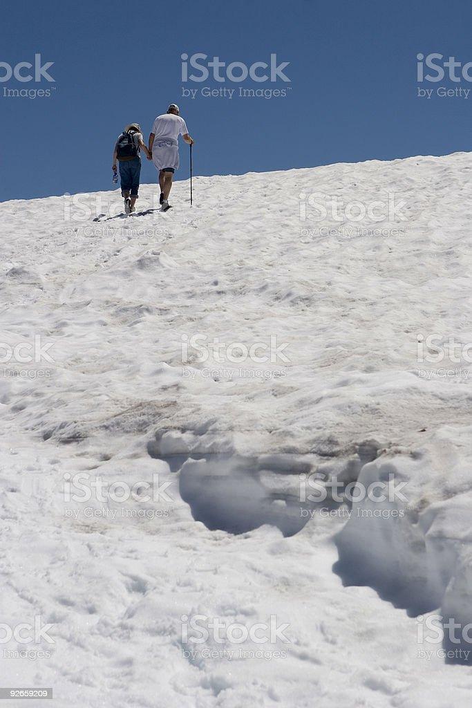 Summer Mountain Hikers stock photo