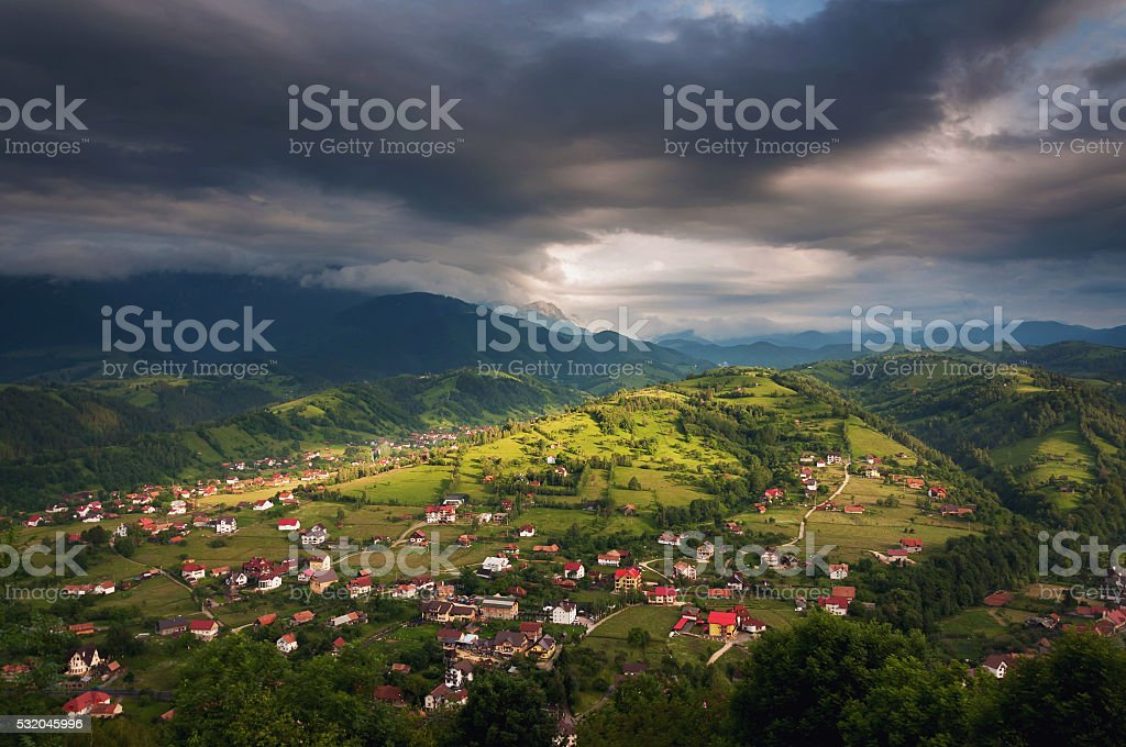 Summer mountain landscape above the hills stock photo