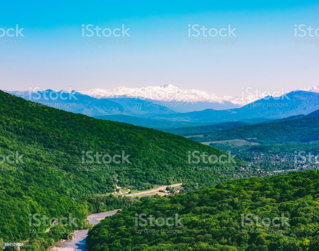 summer mountain landscape and hills in the Caucasus stock photo