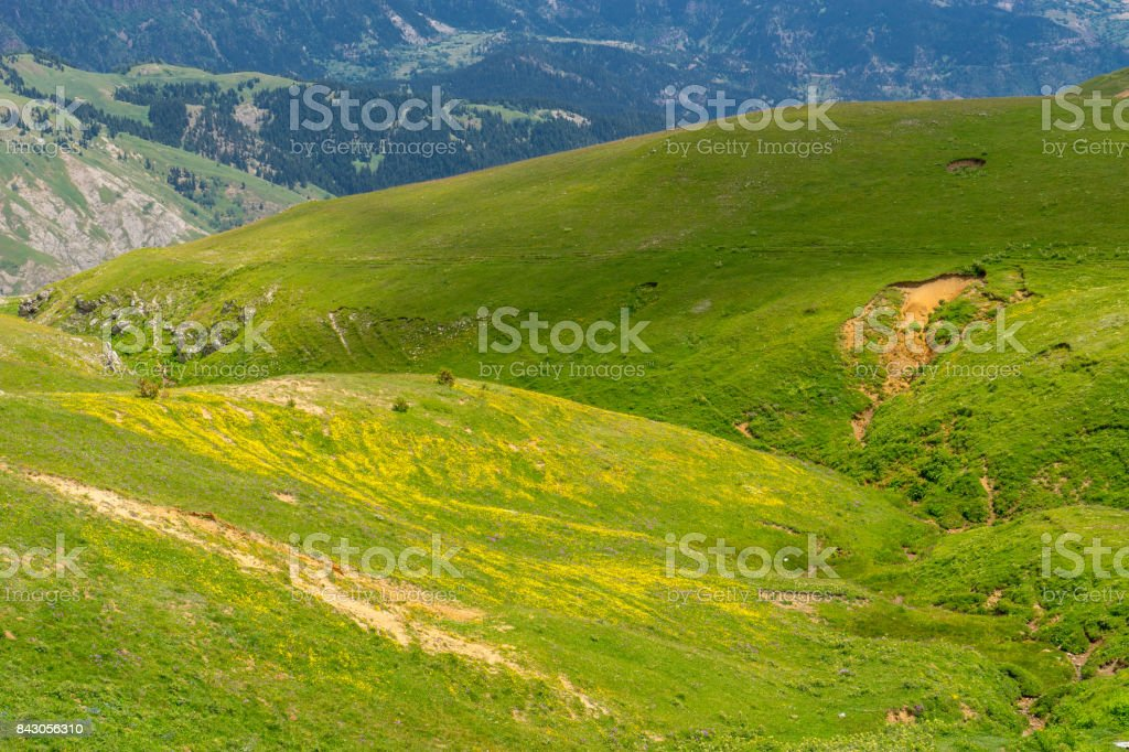 Summer Mountain Plateau Highland with Artvin, Turkey stock photo