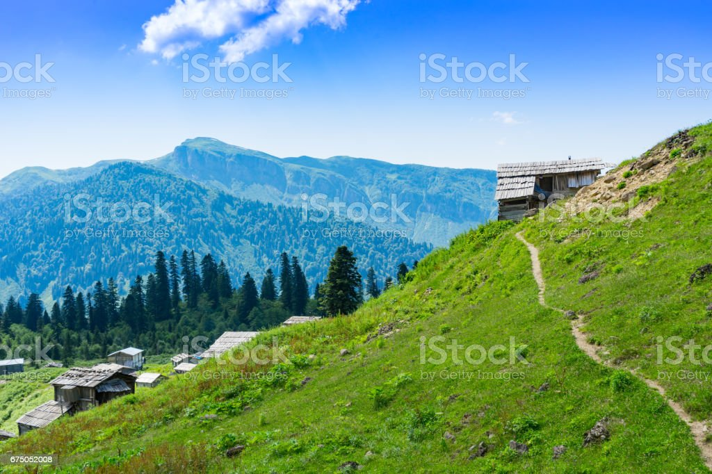 Summer Mountain Plateau Highland with Gorgit, Artvin, Turkey stock photo