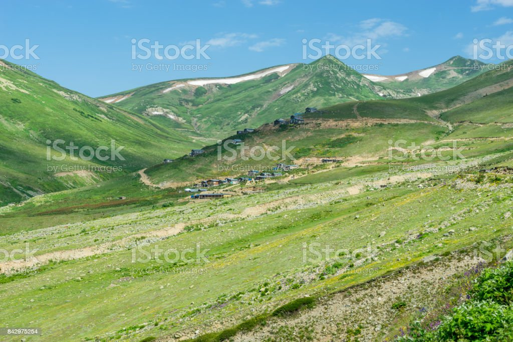 Summer Mountain Plateau Lekoban Highland with Artvin, Turkey stock photo