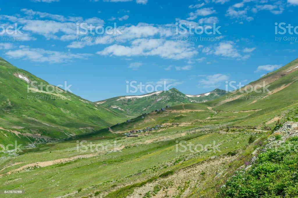 Summer Mountain Plateau Lekoban Highland with Artvin, Turkey stock photo