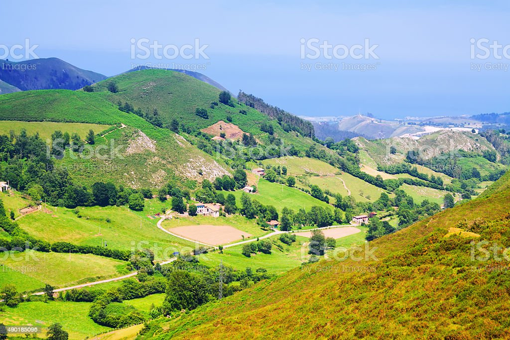 Summer mountains near Llanes stock photo