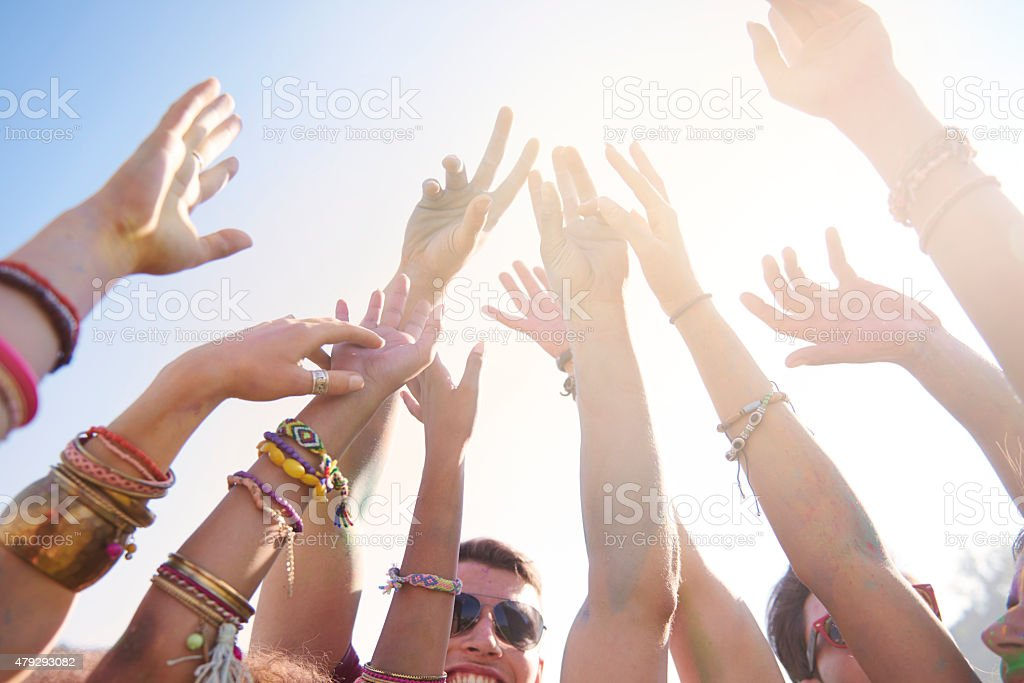 Summer music festival attracting a lot of people stock photo