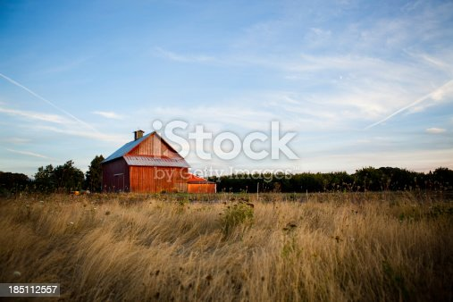 Horizontal image of a country red barn on the pasture on a beautiful summer night.More of this barn: