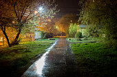 summer night russian suburbs lane at rainy night with defocused shallow depth of fiels technique.