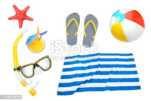 Summer objects collage,beach items set isolated. Holiday vocation symbol.