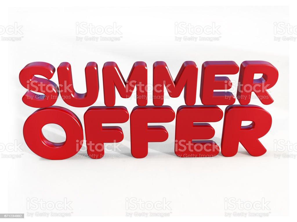 Summer  offer - 3d rendering stock photo