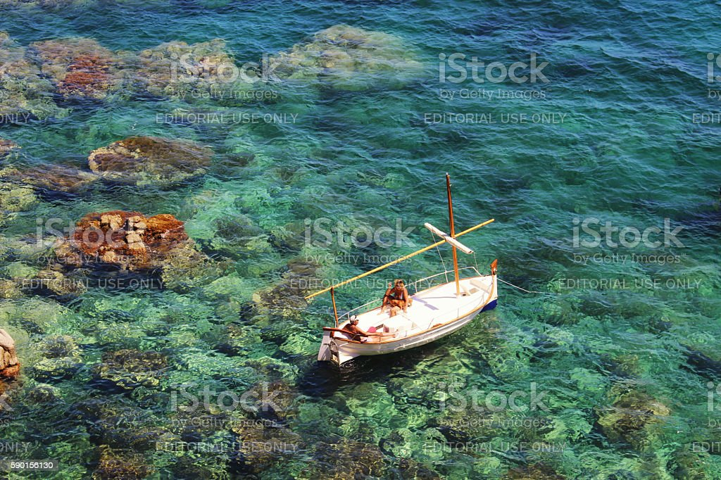 Summer on a boat in Costa Brava stock photo