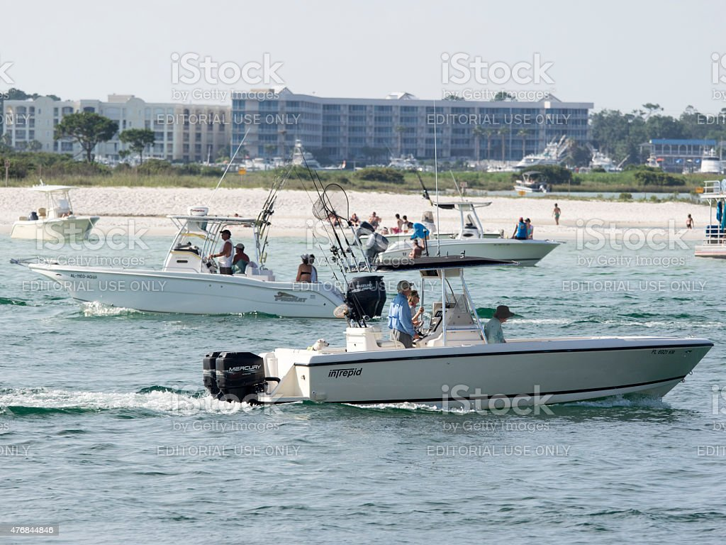 Summer Orange Beach Water with Boats stock photo