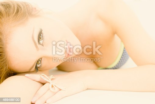 Summer Outdoor Beauty Portrait Lying Down Wearing Bikini Stock Photo & More Pictures of 2015