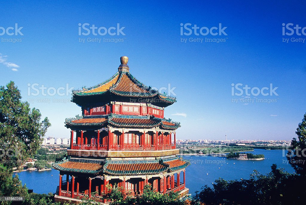 Summer Palace and Beijing Skyline overlooking a lake