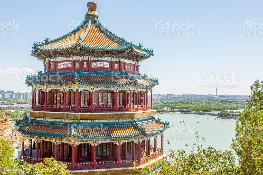 Summer Palace Pagoda Beijing China stock photo