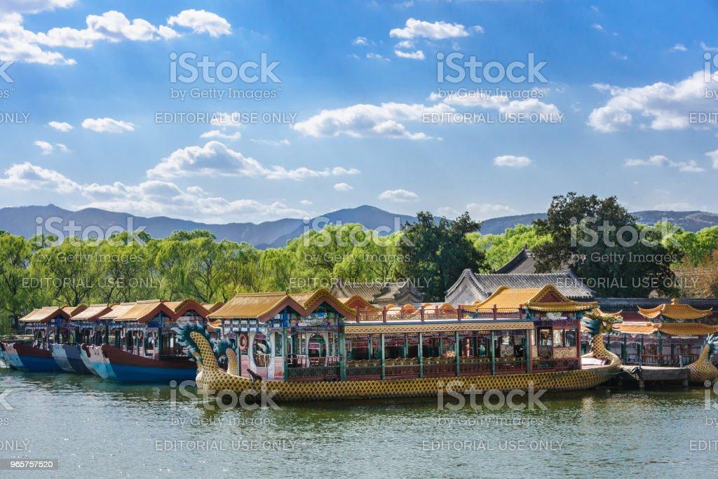 Summer Palace-pleziervaart op het meer, Beijing. - Royalty-free Autoriteit Stockfoto