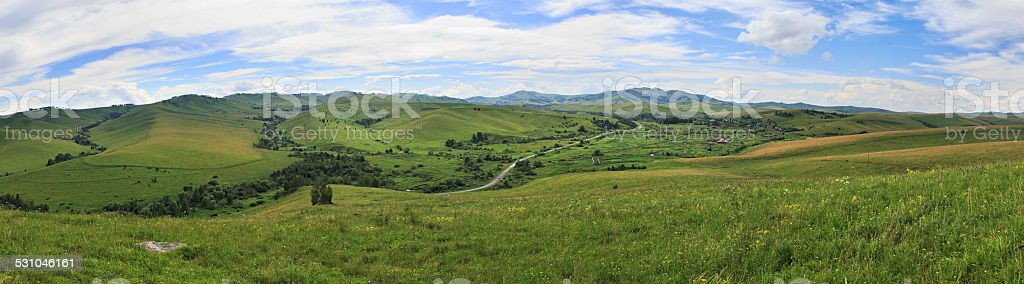 Summer Panorama of Altai mountains. stock photo