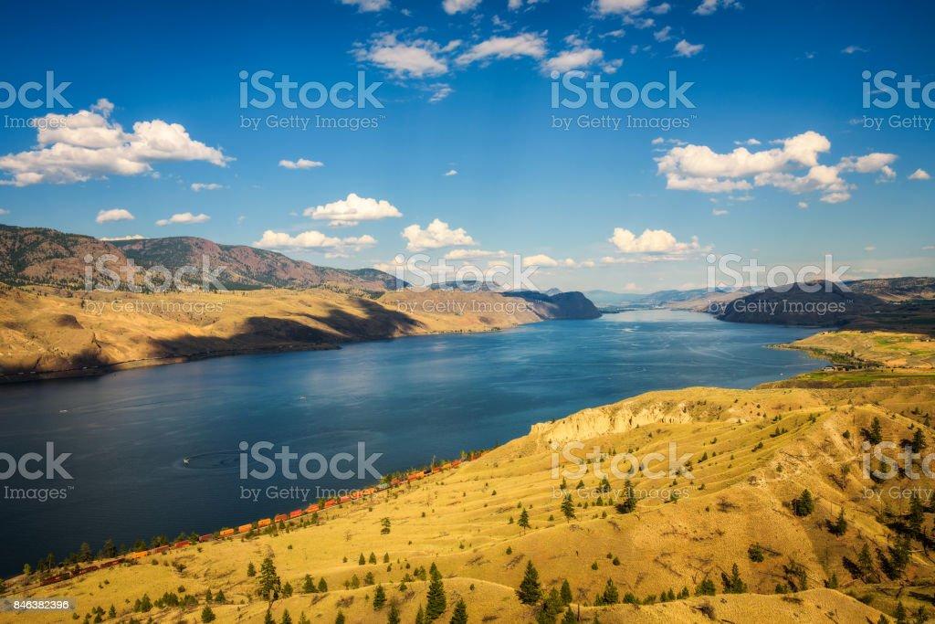 Summer panorama of the Kamloops lake in Canada stock photo