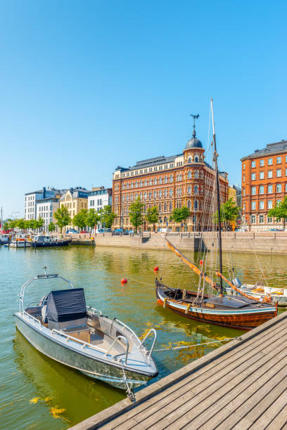 Summer panorama of the old port pier, Helsinki stock photo