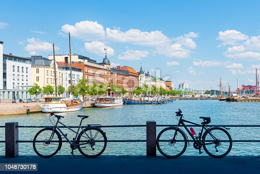 Scenic summer panorama with elegant art nouveau buildings and yacht marina of Helsinki