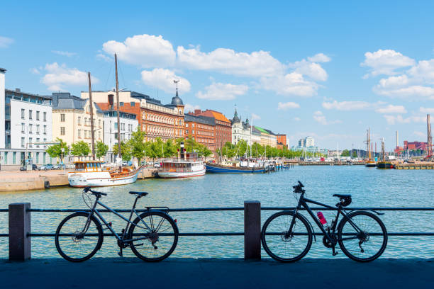 summer panorama of the old port pier, helsinki - finland stock pictures, royalty-free photos & images