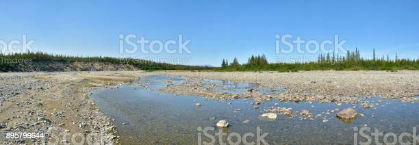 Photo of Summer panorama of the taiga river in the Polar Urals.