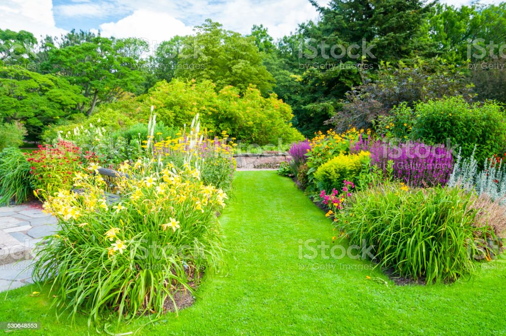 Summer park and lawn garden path stock photo