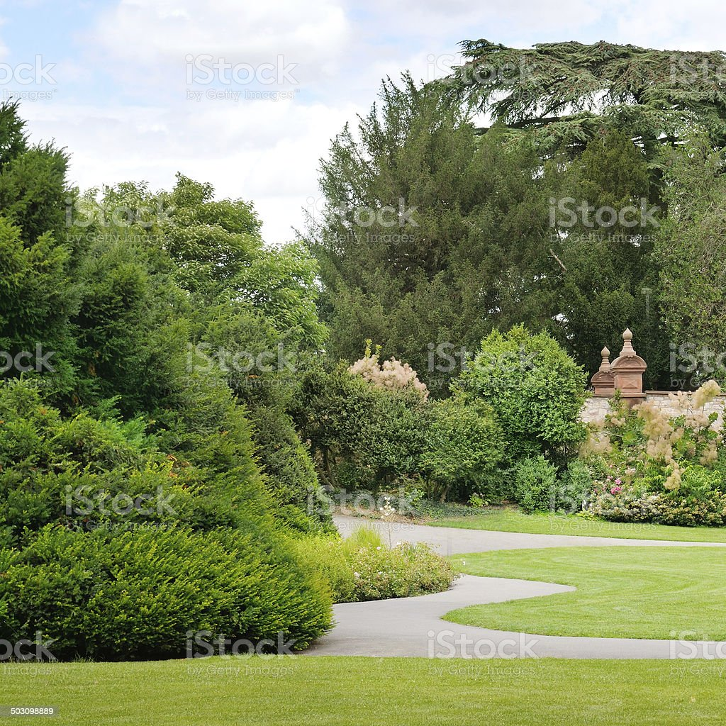 summer park with green lawns royalty-free stock photo