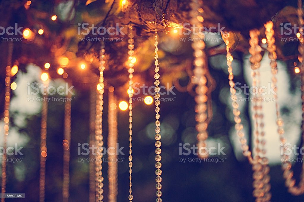 Summer party decorations outdoors stock photo