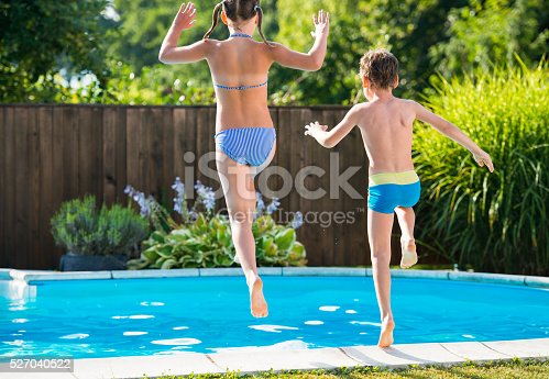 Summer party in swimming pool.