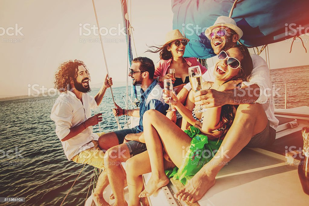 Summer party on a yacht stock photo